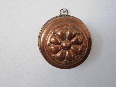 銅 焼き菓子型 中 深 花 1・Copper Mold Mould medium flower