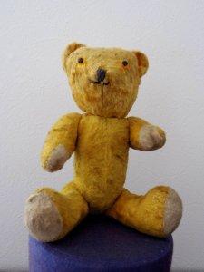 ハンガリー テディベアー プラスチックアイ イエロー ソムリエ  hungary teddy bear old vintage plastic eyes Sommelier