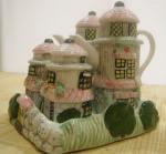チェコ蚤の市 森のおうちの陶器卓上調味料入れ・Antique  table set house spice bottle Czech Republic