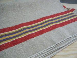 ハンガリー(ハーフ:57.5x107) ヴィンテージ サイド ストライプ ライン リネン 厚地クロス 麻 個性的なハンドメイド材料 hungary retro vintage cloth stripe
