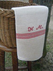 デッドストックヴィンテージハンガリーオリジナルリネンタオル クロス head stock hungary original linen towel cloth