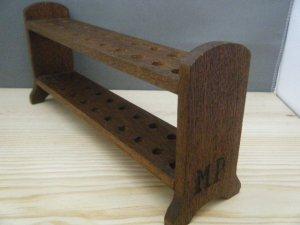 オーストリア 古い木製 MP印の試験管立て austria woos test tube rack