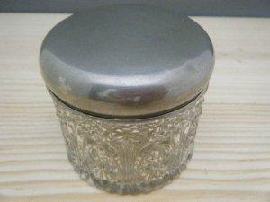 ベルギー シルバー(カラー)蓋付きガラス小物入れ ピーパチアンティーク