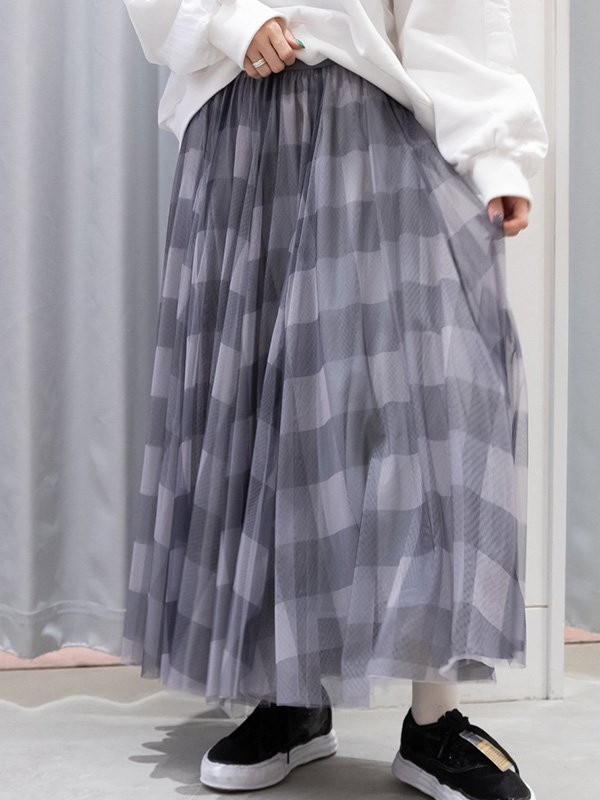 [ROSIEE]チェックチュールスカート
