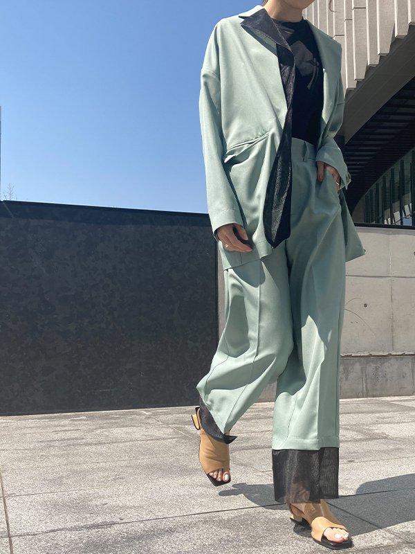 [UN-SOPHIE]21SS 裾オーガンジーコンビワイドパンツ