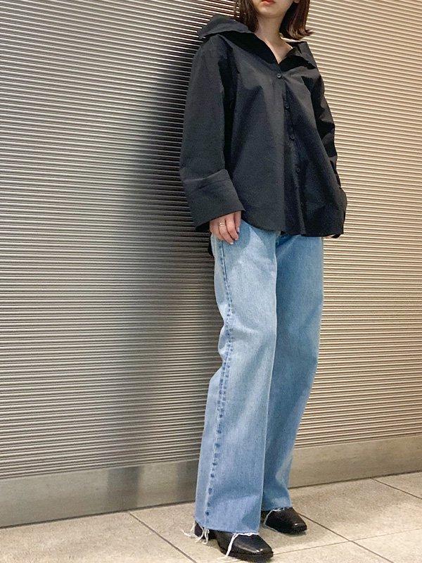 【8/6 11:00~販売開始】[UN-SOPHIE]'21AW オフショルダーストレッチシャツ