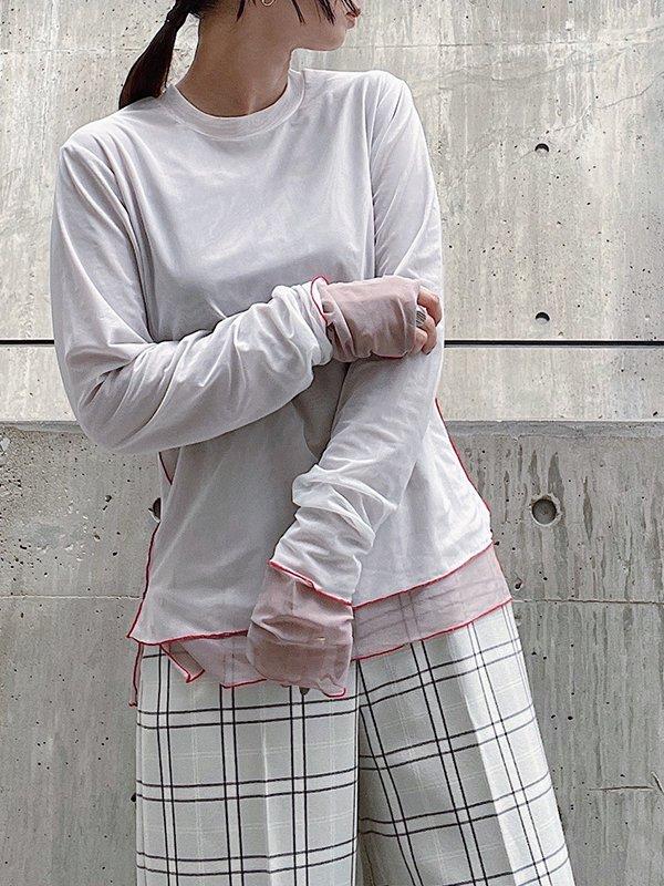 [UN-SOPHIE]'21AW チュールクルーネックトップス