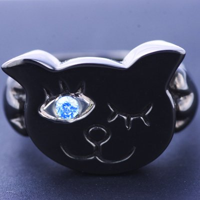 I LOVE CAT ring black