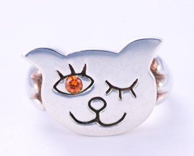 I LOVE CAT ring silver