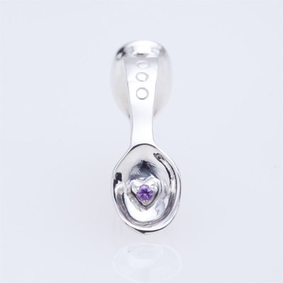 SILVER SPOON BABY RING WITH BIRTHSTONE - FEBRUARY -