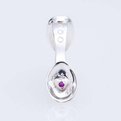 SILVER SPOON BABY RING WITH BIRTHSTONE - JULY -