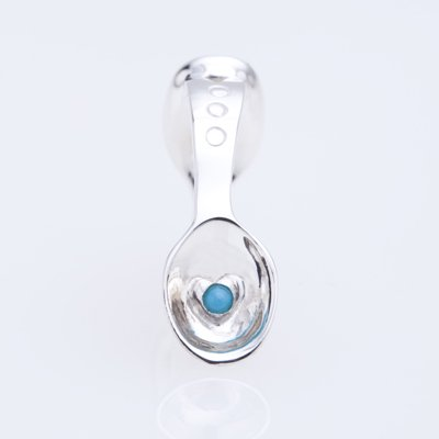 SILVER SPOON BABY RING WITH BIRTHSTONE - DECEMBER -