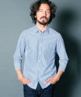 <img class='new_mark_img1' src='https://img.shop-pro.jp/img/new/icons15.gif' style='border:none;display:inline;margin:0px;padding:0px;width:auto;' />Magine<BR>CTN BROAD STRIPE SHIRTS 3/4 SLEEVE(BLUE)
