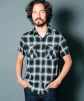 <img class='new_mark_img1' src='https://img.shop-pro.jp/img/new/icons15.gif' style='border:none;display:inline;margin:0px;padding:0px;width:auto;' />Magine<BR>RAYON OMBRE CHECK MILITARY POCKET SHIRT S/S(BLACK)