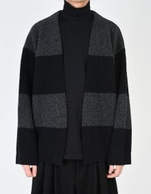 LAD MUSICIAN <BR>HALF CARDIGAN STITCH BORDER KNIT BIG CARDIGAN(CHARCOAL×BLACK) 【SOLD OUT】<img class='new_mark_img2' src='https://img.shop-pro.jp/img/new/icons50.gif' style='border:none;display:inline;margin:0px;padding:0px;width:auto;' />