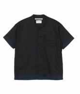 White Mountaineering<BR>LAYERED HALF SLEEVES OPEN COLLAR SHIRT(BLACK)【SOLD OUT】<img class='new_mark_img2' src='https://img.shop-pro.jp/img/new/icons50.gif' style='border:none;display:inline;margin:0px;padding:0px;width:auto;' />