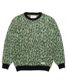 <img class='new_mark_img1' src='https://img.shop-pro.jp/img/new/icons15.gif' style='border:none;display:inline;margin:0px;padding:0px;width:auto;' />WACKOMARIA<BR>LEOPARD MOHAIR CREW NECK SWEATER(TYPE-1)(GREEN)