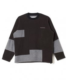 <img class='new_mark_img1' src='https://img.shop-pro.jp/img/new/icons15.gif' style='border:none;display:inline;margin:0px;padding:0px;width:auto;' />White Mountaineering<BR>PATCHWORK FLEECE CREWNECK(BLACK)
