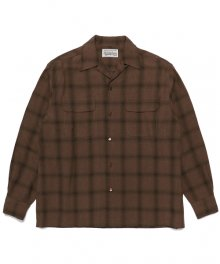 WACKOMARIA<BR> OMBRAY CHECK OPEN COLLAR SHIRT(TYPE-1)(BROWN)【SOLD OUT】<img class='new_mark_img2' src='https://img.shop-pro.jp/img/new/icons50.gif' style='border:none;display:inline;margin:0px;padding:0px;width:auto;' />