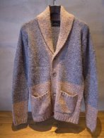 <img class='new_mark_img1' src='https://img.shop-pro.jp/img/new/icons35.gif' style='border:none;display:inline;margin:0px;padding:0px;width:auto;' />LOUNGELIZARD <BR> NEPPY SHAWL COLLAR KNIT(GRAY×BEIGE)(2305)
