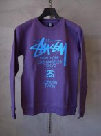 STUSSY KIDS <BR>Kids World Tour Crew Sweat(PURPLE)【SOLD OUT】<img class='new_mark_img2' src='https://img.shop-pro.jp/img/new/icons50.gif' style='border:none;display:inline;margin:0px;padding:0px;width:auto;' />
