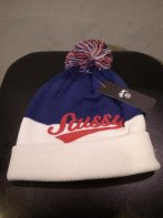 STUSSY KIDS <BR>Kids Script Pom Beanie(Navy×White) 【SOLD OUT】<img class='new_mark_img2' src='https://img.shop-pro.jp/img/new/icons50.gif' style='border:none;display:inline;margin:0px;padding:0px;width:auto;' />
