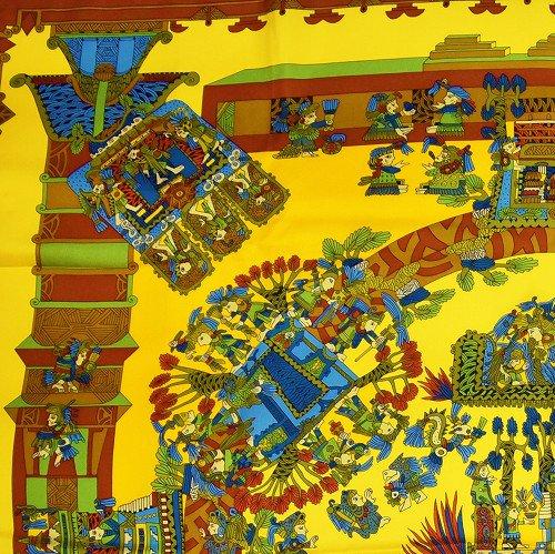 【中古】【新品同様】 Hermes カレ 黄色と人のスカーフ