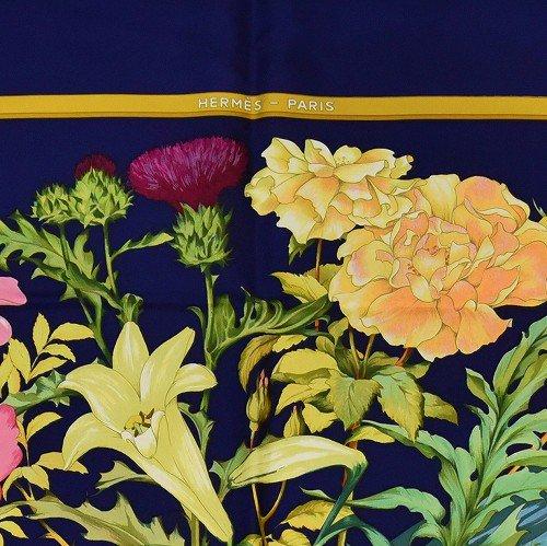 【中古】【新品同様】 Hermes エルメス カレ ネイビーと花のスカーフ