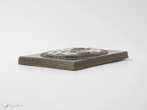 Jie Gantofta 陶板 白いお花 16×11.5cm(797)