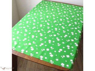ヴィンテージ生地 グリーン×白いクローバー 88×54cm【切売り】