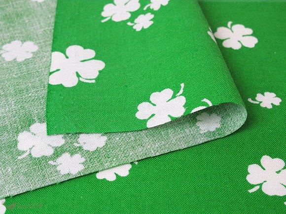 ヴィンテージ生地 グリーン×白いクローバー 88×34cm