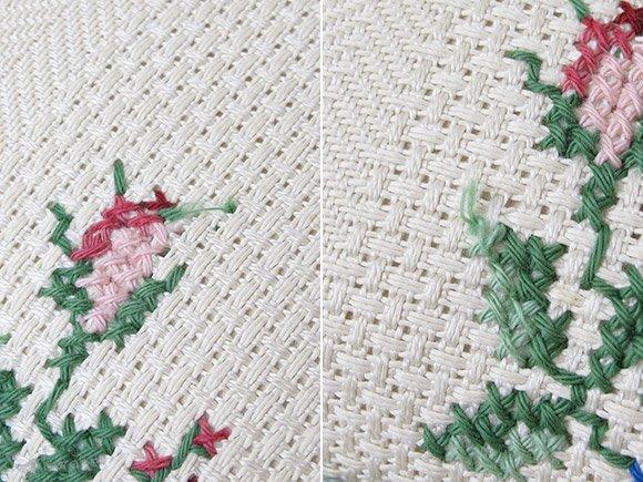 刺繍のクッション 青とピンクのお花