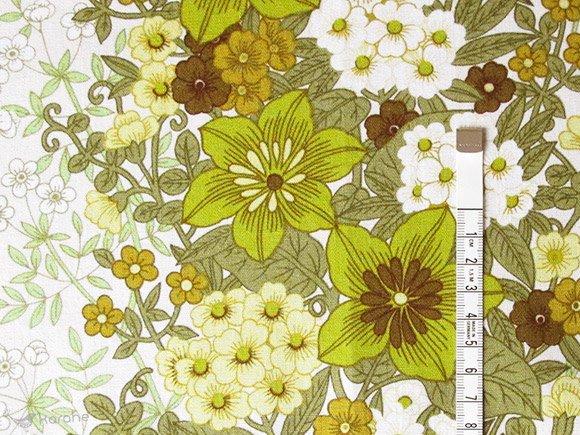 ヴィンテージ生地 グリーンや白のお花 118×162cm