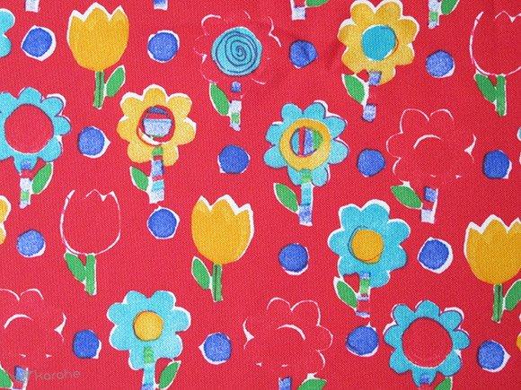 ヴィンテージ生地 赤×黄色や緑のお花 150×113cm
