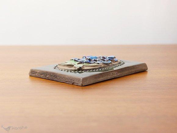 Jie Gantofta 陶板 青いお花 15.5x11.5cm (844)