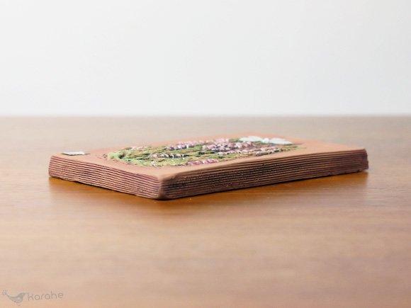 Jie Gantofta 陶板 ピンクのお花と蝶 17.5x11cm (979)