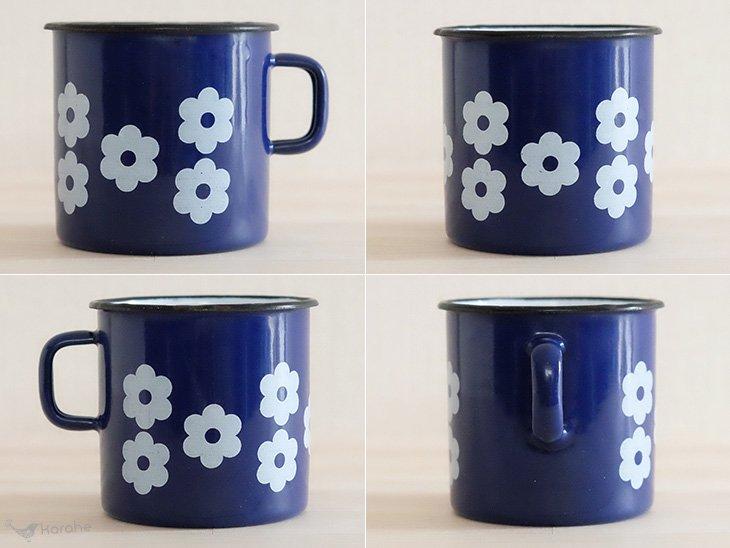 琺瑯マグ ユーゴスラビア製 青×白い花柄