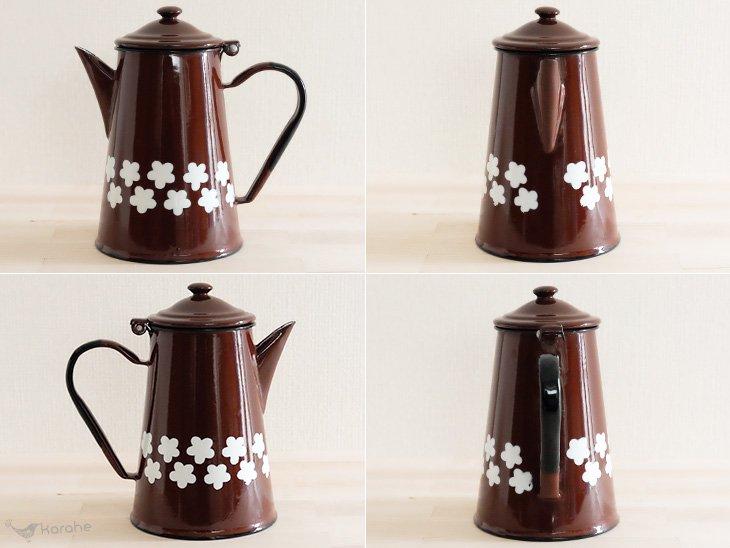 琺瑯製コーヒーポット ポーランド製 ブラウン×白い花柄
