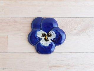 陶器の壁掛け パンジー 9.5cm