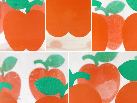 リンゴ柄のキャニスター オレンジ H14.5cm