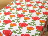 ヴィンテージ生地 赤とオレンジのお花