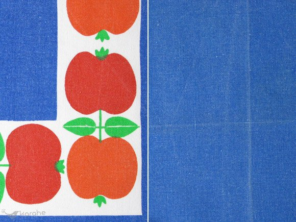 テーブルクロス ブルー×りんご