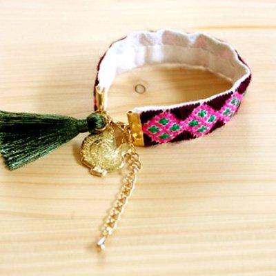 メキシコ オリジナル刺繍ブレス(パープル)