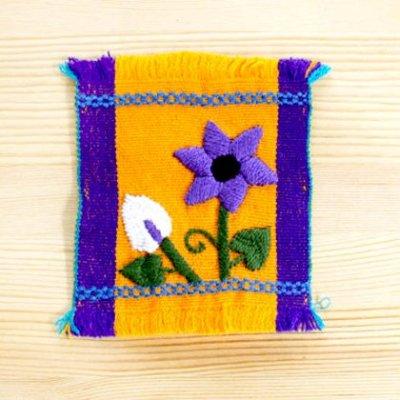 メキシコ 刺繍シナカンタンフラワーコースター(イエロー)