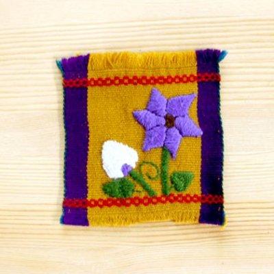 メキシコ 刺繍シナカンタンフラワーコースター(マスタード)