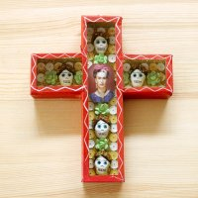メキシコ ガイコツカラベラボックス十字架M(フリーダ)