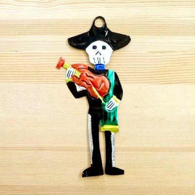メキシコ ブリキオーナメントM(ガイコツバイオリンA)