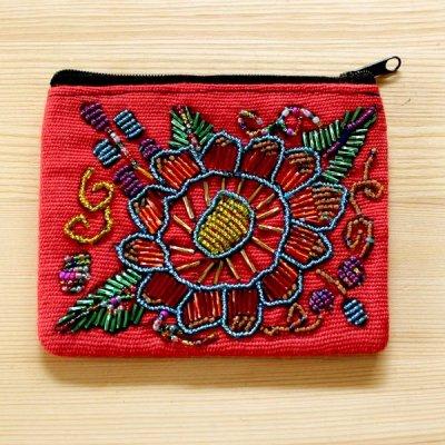 グアテマラ ビーズ刺繍ポーチS(B)