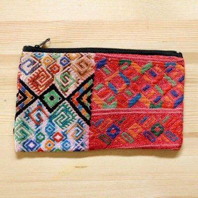 グアテマラ ウィピル刺繍ポーチM(E)