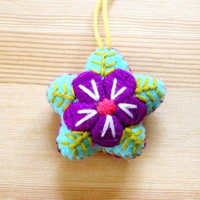メキシコ 刺繍フラワーチャームS(ライトブルー)